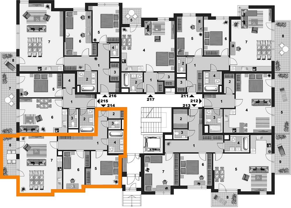 Poloha bytu na patře